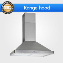Kitchen Panel Wall Mount Electronic Switch Range Hood Stove 30  Stainless Steel