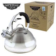 SILVER RETRO 50 s StoveTop Whistling INDUCTION KETTLE Gas Electric Hob VINTAGE