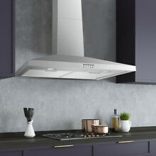 36  Full Stainless Steel Wall Mount Range Hood Touch LED Mesh Filter Stove Fan