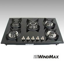 30inch Built in 5 Burners Gas Cooktop LPG NG Gas Hob Black Tempered Glass Plate