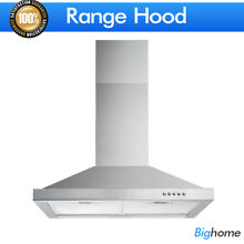 36  Wall Mount Range Hood Mesh Filter Stainless Steel Kitchen Stove Vent Fan LED