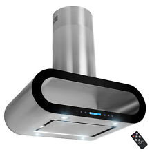 36  Island Mount Stainless Steel Black Trim Dual Touch Panel Kitchen Range Hood