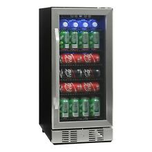 Beverage Wine Cooler Chiller 96 Can Mini Refrigerator LED Light Beer Soda Fridge