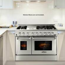 48  6 Burner Dual Fuel Stainless Steel Gas Range Double Electric Oven E1D3