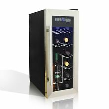 NutriChef 12 Bottle Thermoelectric Wine Cooler   Chiller   Counter Top Red And