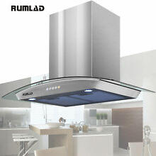 30  Stainless Steel Wall Mount Range Hood Stove Vent Fan with LED Control NEW