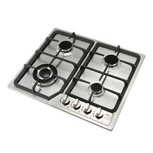23in  Stainless Steel 4 Burner Gas Cooktop Built in Fix Gas Hob Battery Ignition