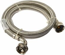 4  Silver Pewter Braided Stainless Steel Washing Machine Hose w  90 Degree Elbow