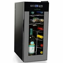 Nutrichef 12 Bottle Thermoelectric Wine Cooler Refrigerator   Red  White