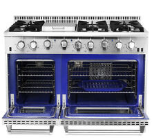 Gas Range 48  Thor Kitchen Pro Double Oven Stainless Steel 6 Burner Stoves Hot
