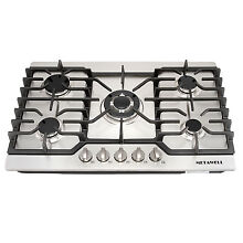 30 inch Stainless Steel Gas Cooktops 5 Burners Built in NG LPG Stoves
