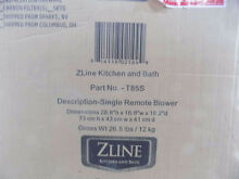ZLine Kitchen and Bath Range Hood Single Remote Blower T85S 900 cfm