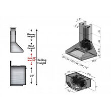 ZLINE standard Wall Mount Range Hood Chimney KIT for models 697 RD 697 RS