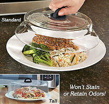 Tall Glass Microwave Plate Cover w  red handle  protect food from plastic s gas