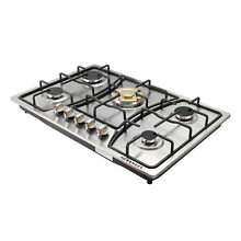US Ship 30  Stainless Steel 5 Burner Built In Gas Cooktops with Gold Main Stoves