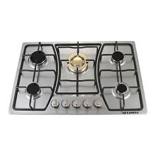 30inch Built in 5 Burners Gas Hob Cooktop Stove Hob with Stainless Steel Gold