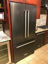 KitchenAid KRFC302EBS Black Stainless Steel Counter Depth FrnchDr Refrigerator