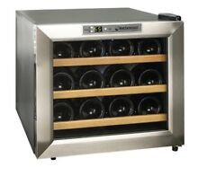 Wine Enthusiast 272 02 13W Stainless Steel Wood Shelves Silent 12 Bottle Cooler