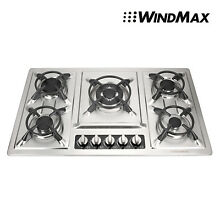 34  Stainless Steel  5 Burner Built In Stoves Gas Cooktop   Iron Frame Windmax