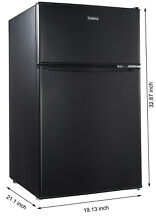 Galanz 3 1 Cubic ft Compact Refrigerator Double Door  Black Office Dorm Home