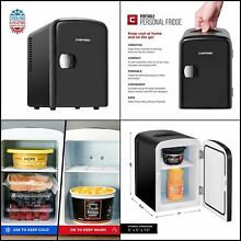 Compact Personal Fridge Cools Heats  4 Liter Capacity Chills 12V Car Charger NEW
