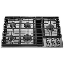 KitchenAid 36 in  Gas Downdraft Cooktop Stainless Steel 5 Burner KCGD506GSS