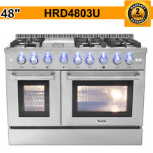 THOR 48 Inch Gas Range Dual Fuel 6 Burner Double Electric Oven Updates HRD4803U