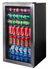 126 Can Beverage Cooler Stainless Door Glass Display Mini Fridge Can Drink Bar