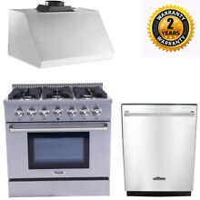 Thor Kitchen 36  6 Burner Gas Range HRG3618U   36  Range Hood   24  Dishwasher