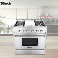 Thor Kitchen 36  4 Burner Gas Range Cooker W Griddle Stainless Freestanding