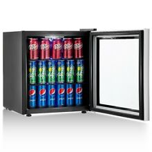 60 Can Compact Beverage Cooler Mini Refrigerator W  Glass Door Office Dorm Home