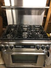 Dacor 36  Range Dual Fuel 6 Burners Professional Stove Stainless With Range Hood