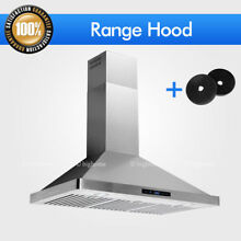 30 36  Combo W Carbon Filter Kit Wall Mount Kitchen Range Hood Full Stainless