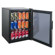 75 Can Beverage Refrigerator Beer Wine Soda Drink Cooler Mini Fridge Glass Door