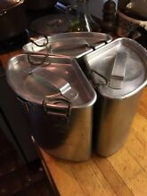 Chambers Stove TRIO Thermowell Pots w Latched Lids Wear Ever Aluminum Free Ship