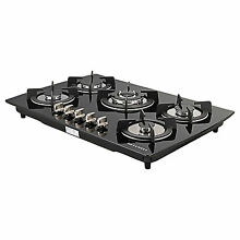 30  Black Built in 5 Burner Glass LPG NG Kitchen Oven Gas Cooktop Cooker US Sell