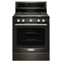 KitchenAid 30  Wide Gas 5 Burner Freestanding Convection Range  KFGG500EBS  NEW
