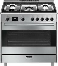 Smeg 36 Inch Freestanding Dual Fuel Range with 5 Burners  Sealed Cooktop S9GMXU9