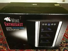 NIB Wine Chiller Mini Cooler  6 Bottle  Wine Enthusiast  Black Fridge Champagne