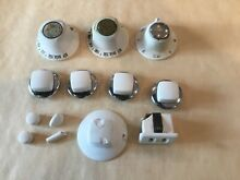 Complete Set 13 1960s Thermador Range Burner Knobs   White Pulled From Range