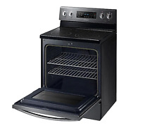 SAMSUNG 30 in Electric Range with Self Cleaning Convection Oven  Fingerprint Res