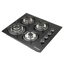 METAWELL GG403 24  Black Tempered Glass Built in 4 Burner Gas Cooktops Cooker