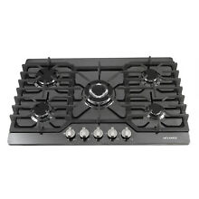 METAWELL 30 inch Black Titanium 5 Burner Built in Stoves LPG Natural Gas Cooktop