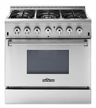 Dual Fuel StainlessSteel Range 36  5 2cu f t  with 6 Burners CSA List HRD3606U