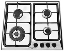 ANCONA 24 in  Gas Cooktop w  4 Burners and Triple Ring Brass Power Burner  Steel