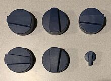 THERMADOR KNOB SET 6pc BLUE PLASTIC  FOR 30 RANGE  see pics