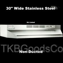 STAINLESS OVER THE STOVE RANGE HOOD 30  EXHAUST FAN Non Ducted Under Cabinet