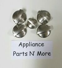 GE RANGE BURNER STAINLESS KNOBS LOT OF 5 PART  191D6961  4  191D6962  1  USED
