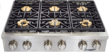 Dacor DYRTP366SNG Discovery 36 Inch Gas Cooktop with 6 Sealed Burners Stainless