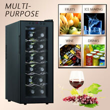 12 Bottles Wine Cooler Refrigerator Thermostat Cabinet Air tight Temp Control